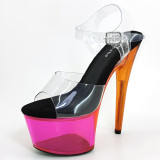 Leecabe  17CM/7Inch Women's Clear Platform Sandals  party High Heels Shoes Pole Dancing Shoes