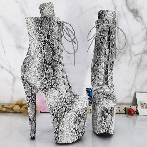 Leecabe OffWhite Snake PU Upper 20CM/8inches Pole dance shoes High Heels Pole Dance boot