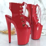 Leecabe 9inches RED Platform Shoes Sexy Dance Shoes 23 CM High Heels Sandals Pole Dance shoes