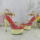 Leecabe 15CM/6Inch Shinny Golden Women's Platform Sandals  party High Heels Shoes Pole Dancing Shoes