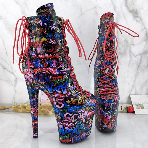 Leecabe RED PU 20CM/8inches Pole dancing shoes High Heel platform Boots closed toe Pole Dance booties