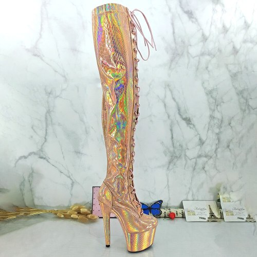 Leecabe Shinny Gold PU 17CM/7inches Pole dancing shoes High Heel platform Pole Dance boot