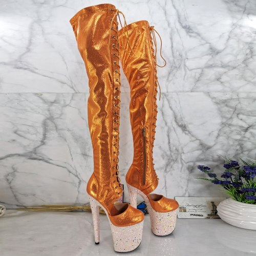 Leecabe  20CM/8inches Pole dancing shoes High Heel over knee closed toe Pole Dance boots