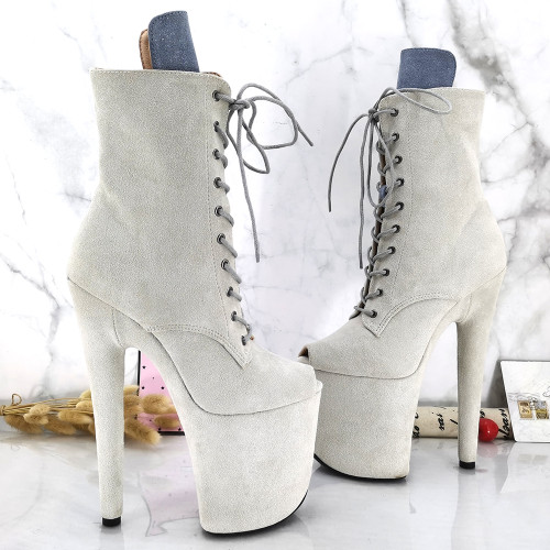 Leecabe Offwhite Suede Upper 20CM/8inches Pole dance shoes High Heels Pole Dance boot