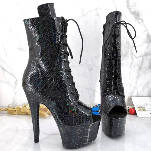 Leecabe Holo Snake Upper 17CM/7inches Pole dancing shoes High Heel platform Boots Pole Dance shoes