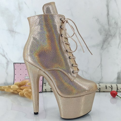 Leecabe Golden PU Upper 17CM/7inches Pole dancing shoes High Heel platform Pole Dance boot