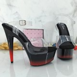 Leecabe 15CM/6Inch Black with RED Platform lady party High Heels Shoes Pole Dance Shoes