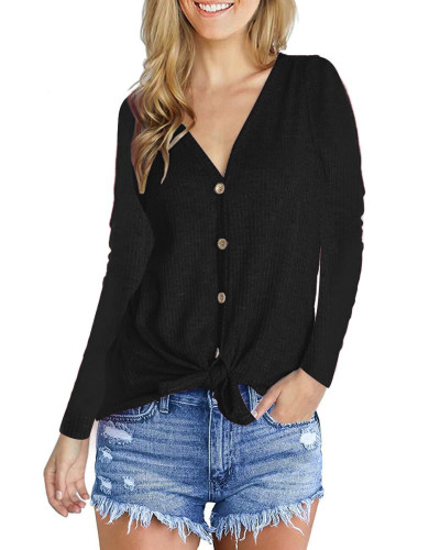 Fashion V-Neck long sleeve top black