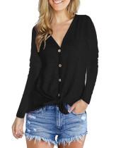 Fashion V-Neck long sleeve top black