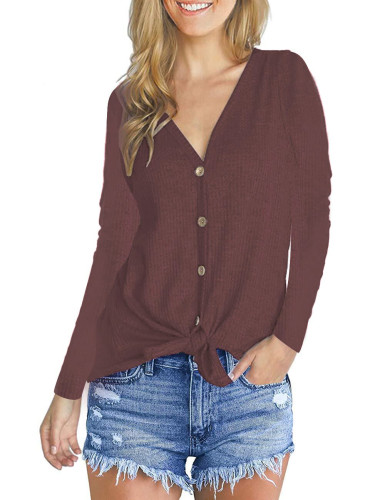 Fashion V-Neck long sleeve top Brick red