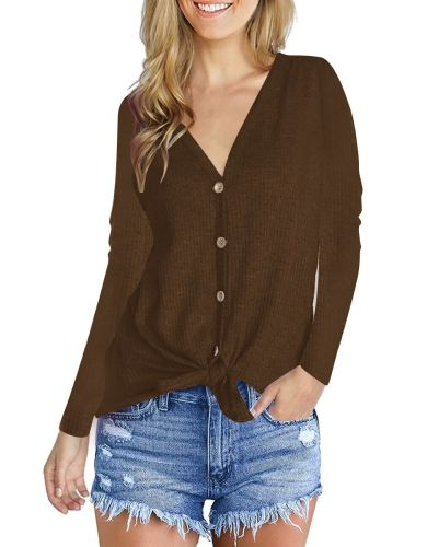 Fashion V-Neck long sleeve top Coffee