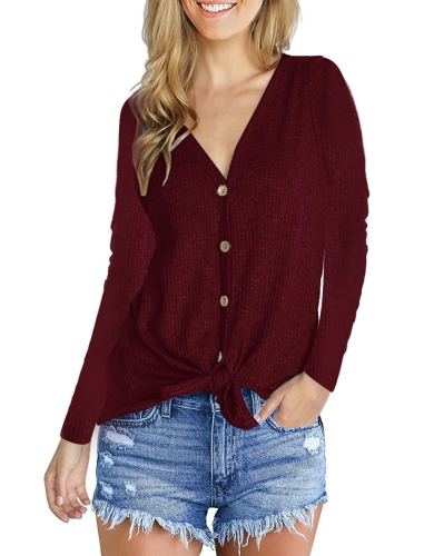 Fashion V-Neck long sleeve top Claret