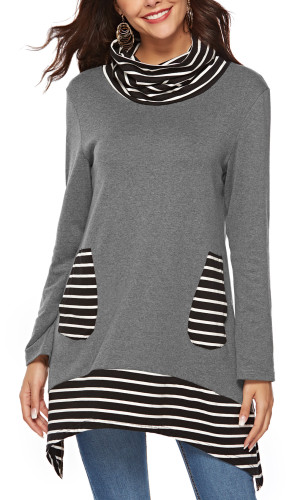 Patchwork pocket Bib long sleeve sweater grey