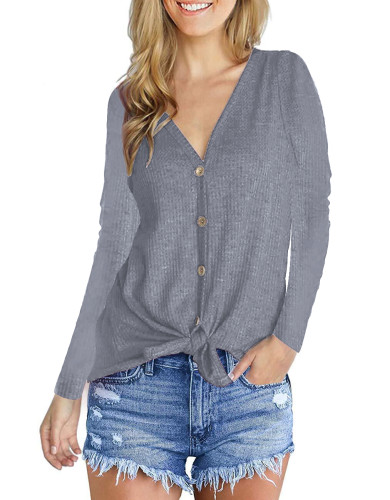 Fashion V-Neck long sleeve top grey
