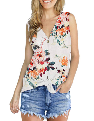 Printed cardigan sleeveless top white