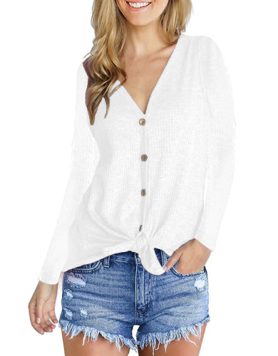 Fashion V-Neck long sleeve top white