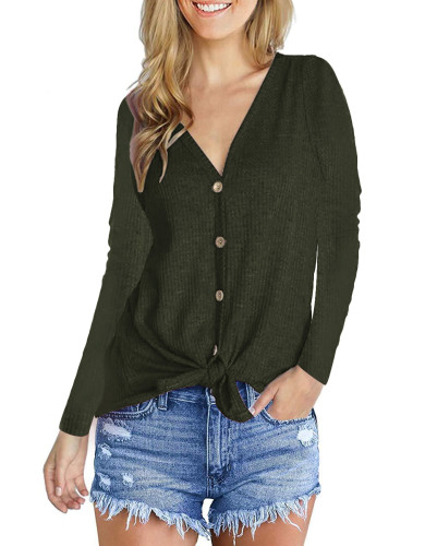 Fashion V-Neck long sleeve top green