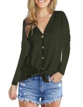 Fashion V-Neck long sleeve top green
