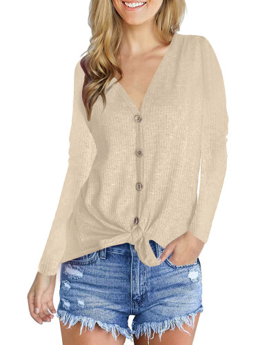 Fashion V-Neck long sleeve top Khaki