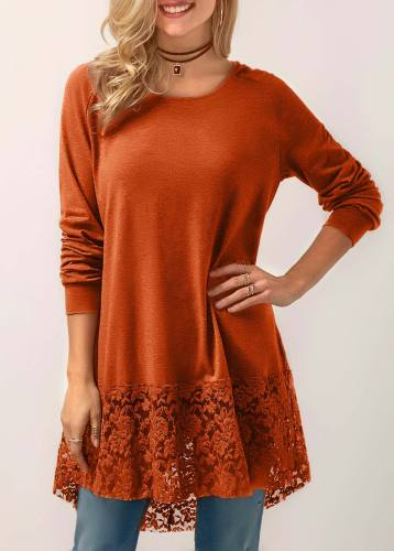 Long sleeve hooded cotton top orange