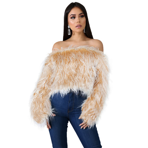 Off shoulder fade long fur short top yellow