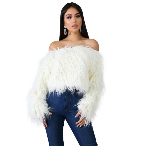 Off shoulder fade long fur short top white