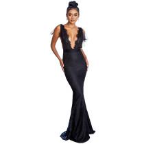 Sexy deep V lace dress split fishtail dress black