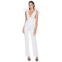 Sexy perspective mesh bow top PU leather BODYSUIT white