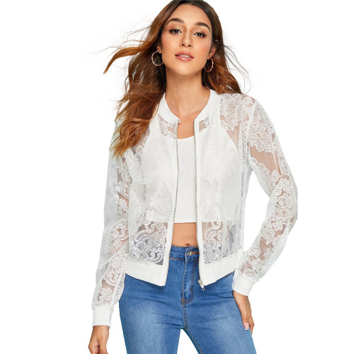 Perspective of lace women's sexy jacket white