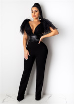 Sexy perspective mesh bow top PU leather BODYSUIT balck