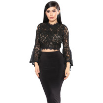 Embroidered and carved lace women's short horn long sleeve hollow T-shirt