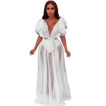 Perspective net gauze drop shoulder long dress European and American sexy evening dress white
