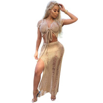 Night club hollow perspective knitted dress camel