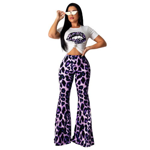 Casual lip print top + leopard high waist flare pants two piece set violet