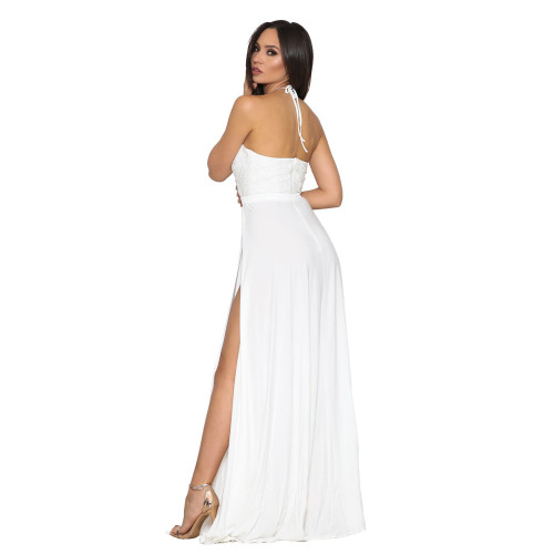 Sexy suspender deep V-neck dress white
