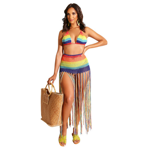Hand Crocheted fringe casual Suit Swimsuit blouse