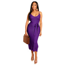 Violet Bright color knitted Crochet suspender dress