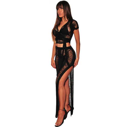 Night club hollow perspective knitted dress black