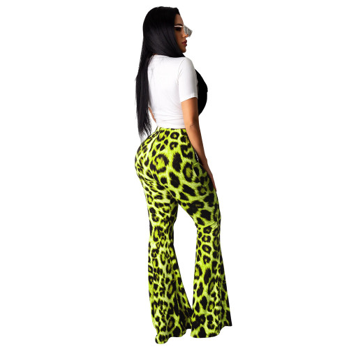 Casual lip print top + leopard high waist flare pants two piece set green