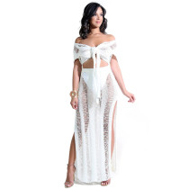 Night club hollow perspective knitted dress white