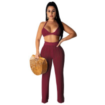 Claret Fashion knitted mesh hollow perspective two piece suit