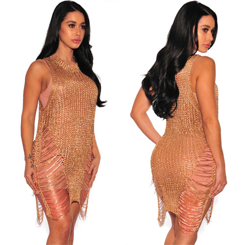 Rose Gold Sexy knitted beach skirt night club perspective Knitted Blouse