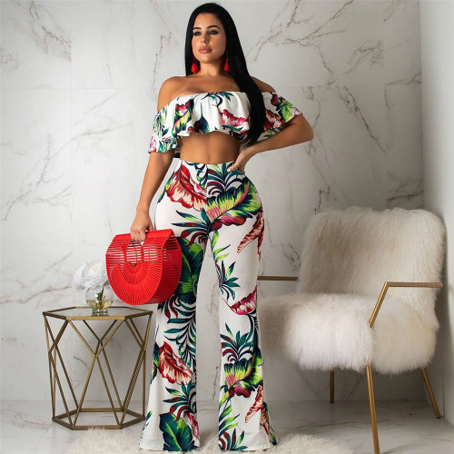 White Two piece suit of bell bottom pants with wrapped chest and flounce