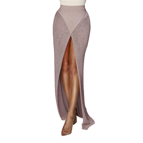 Khaki Sexy cross knitted half skirt open leg beach skirt