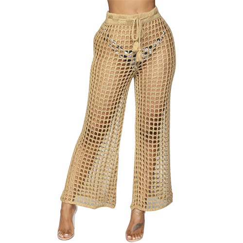 Camel Cut out beach trousers with lace up at waist