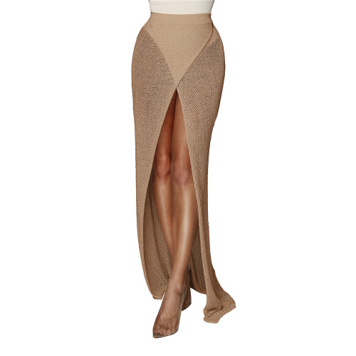Camel Sexy cross knitted half skirt open leg beach skirt