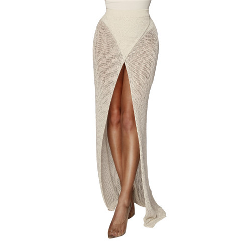 White Sexy cross knitted half skirt open leg beach skirt