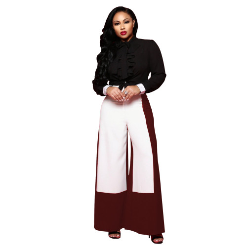 Red Wide leg pants fashion high waisted color blocking pants