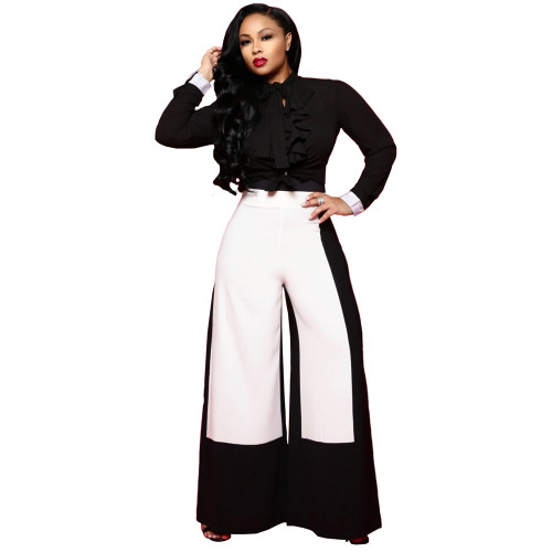 Blcak Wide leg pants fashion high waisted color blocking pants