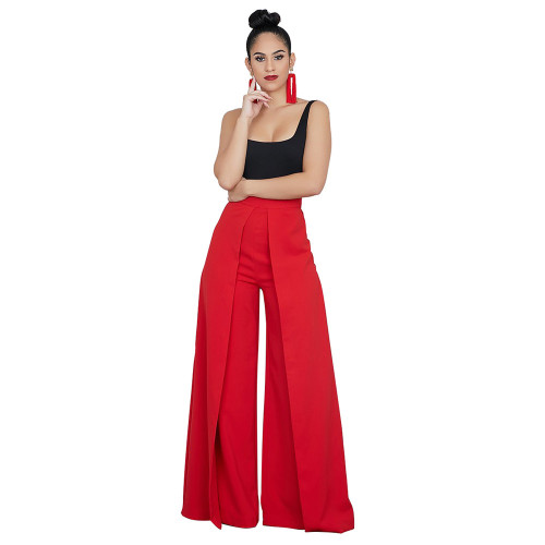 Red Fashionable wide leg pants